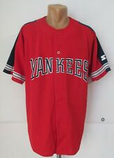 NY NEW YORK YANKEES STARTER BASEBALL JERSEY SHIRT 90s 1990s MLB RED NAVY SIZE XL