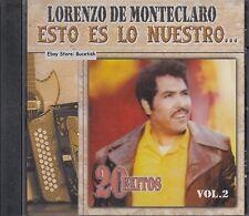 Lorenzo de Monteclaro Esto Es Lo Nuestro 20 Exitos Vol 2 CD New Nuevo