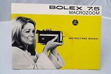 Bolex 7.5 Macrozoom Super 8 movie camera instruction manual