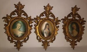 Vintage Ornate Painted Gold Wood Framed Fabric Woman Pic Wall Art Lot Of 3 Italy