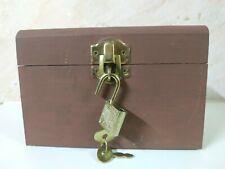 Bank Box Wood Vintage Coin Post Office Money Door Wooden Lock Brass Safe Savings