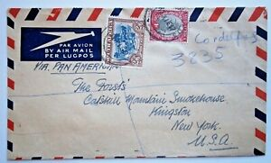 1947 Registered Air Mail from South Africa to Kingston, NY with Scott #30