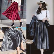 Fashion Women's High Waisted Skinny Female Velvet Pleated Skirts Pleated Skirt F