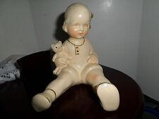 VTG Rare Antique Chalkware Sculpture Piano Baby Girl~Teddy Bear Figurine Carniva