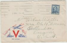 New Zealand 1945 Patriotic Cover  Victory Theme     Fair/Good condition