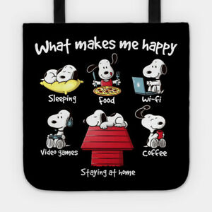 Makes Snoopy Happy Sleep Food Peanuts Funny Cartoon Gift Casual Lined Tote Bag