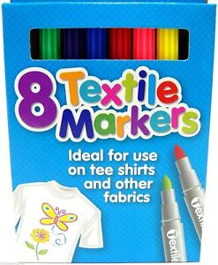 Pack of 8 Coloured Fabric Textile T Shirt Markers Pens Non Washable Bullet Tip