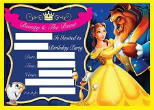 BEAUTY THE BEAST BELLE BIRTHDAY PARTY INVITATION INVITES CHILDRENS 102030