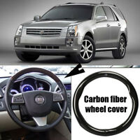 Car Steering Wheel Cover Anti-Slip Carbon Fiber Leather Wrap For Cadillac SRX
