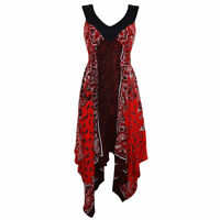 Sexy Red Black Summer Holiday Boho Asymmetric Handkerchief Sun Dress 10 12 14 16