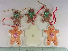 "6 Gingerbread Ornaments, 3 Ceramic, 3 ""Rubber""- New"