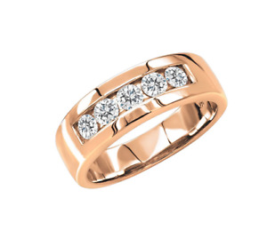 Features 1.CT Five Round Cut Sparkling Cubic Zirconia In 10K Rose Gold Men' Band