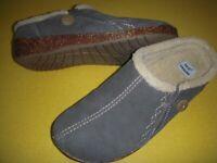 Earth Origins Johanna Suede Faux Fur Slip-On Clogs Women's Shoes 6.5 W Grey 6.5W