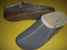 Earth Origins Johanna Suede Faux Fur Slip-On Clogs Women's Shoes 6 W Grey 6W