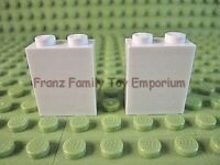New LEGO Lot of 2 White 1x2x2 Wall Brick Pieces Parts