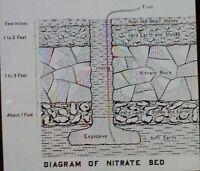 1910, Diagram of Nitrate Bed, Magic Lantern Glass Slide