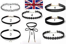 Ladies Black Chocker Choker Trendy Funky Collar Necklace Fashion Jewellery Girls