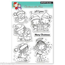 New Penny Black CHRISTMAS WITH MIMI Clear Stamps Girl Holiday Presents Angel Boy