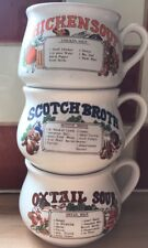 Vintage Retro Recipe Ingredient Soup Bowls Collectable Mugs x3 ChIcken Scotch Ox