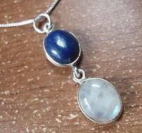 Lapis Moonstone Double Gem 925 Sterling Silver Pendant Corona Sun Jewelry u149n