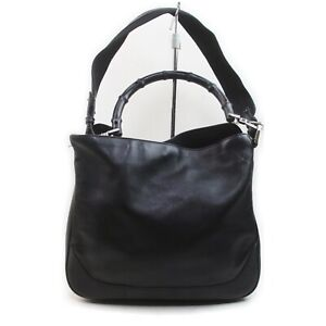 Gucci Hand Bag Bamboo Black Leather 1902417