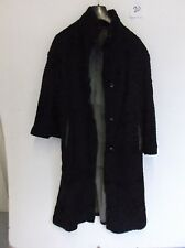 "Vintage Ladies REAL FUR Coat in Black Armpit/Armpit 19"" Length 47"" (f20)"