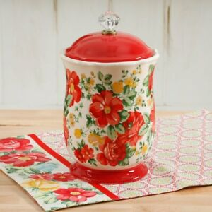 The Pioneer Woman Vintage Floral canister in Red