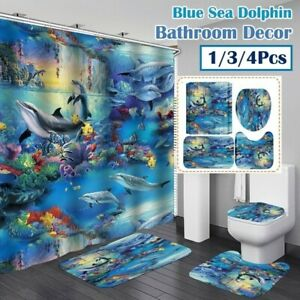 1/3/4 Pcs Blue Sea Dolphin Printing Bathroom Shower Curtain Toilet Cover Mat Set