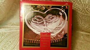 "Gorham Crystal Holiday Traditions Christmas Cardinal 7"" Heart Dish,Germany"