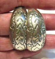 VINTAGE STERLING SILVER EARRINGS PIERCED MEXICO TH-50 ETCHED DESIGN 17.4 GRAMS