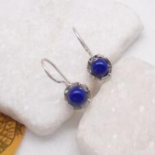 Lapislazuli blau Blüte rund Design Ohrringe Ohrhänger 925 Sterling Silber neu