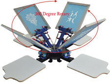 Fix On Table Single Rotate 4Color 4Station Screen Print Equipment T-Shirt Stamp