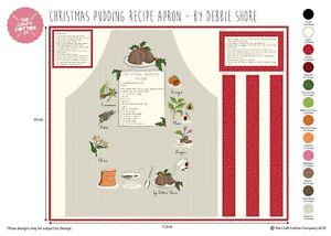 DEBBIE SHORE CHRISTMAS PUDDING APRON 90cm PANEL 100% COTTON 2486DS