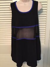 Anne Klein beach swimsuit cover up black 50% cotton 50% polyester size Med GUC