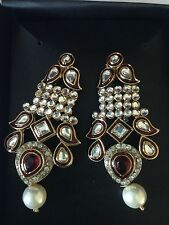 Red stone, pearls & uncut stones Nib! Unique Costume jewelry. Beautiful Earrings