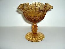 VTG AMBER FENTON OLDE VIRGINIA GLASS RUFFLED PEDESTAL COMPOTE CANDY DISH - MINT!