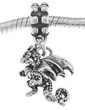 STERLING SILVER LEGENDARY CREATURE DRAGON WITH WINGS EUROPEAN STYLE DANGLE BEAD