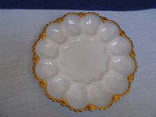 Anchor Hocking White Milk Glass Deviled Egg Serving Plate Clam Dish w Gold Trim