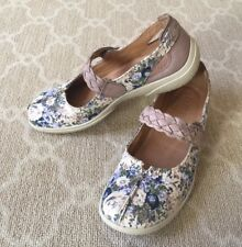 Hotter Women's Shoes Comfort Mary Jane Beige Flower Canvas Leather Slip On-US 7