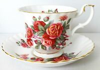LOVELY ROYAL ALBERT FINE BONE CHINA FOOTED TEA CUP & SAUCER CENTENNIAL ROSE 1967