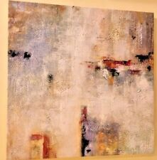 """""""Connectivity""""  ABSTRACT PAINTING TEXTURED GREY WHITE BLUE RED 28""""X28"""" MOUNTED"""