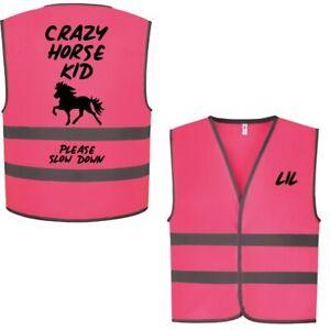 Kids Equine Crazy Horse Kid Fun Childrens  Hi Vis Safety Vest 5 colour Choices