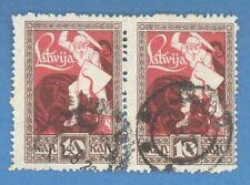 LATVIA LETTLAND PAIR 1919-20s 10 Kop. Sc 64 ERROR- OFFSET (abclach) USED 3423