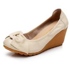 Ladies Womens Comfort Bow High Heels Platforms Wedges Pumps Work Court Shoes