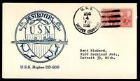 USS HIGBEE USA NAVY WW II DESTROYER with special postmark 1955 postal cover