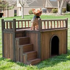 Heated Small Weather-resistant solid fir construction Dog House Staircase