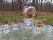 Vintage Libbey Glass Culver 22kt Gold Brandy Whiskey Decanter Snifter 5pc Set