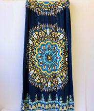 INC Beach Swimwear Cover Up Maxi Skirt Blue Print Sequins Lounge Patio Womens XL