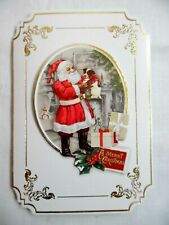 Punch Studio~Box 10~Santa & Puppy~3D~Gold Foil Embellished~Christmas Cards~New!