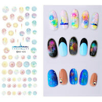 Colorful Fireworks Water Decals Sheet City Skyline Nail Art Transfer Sticker DIY